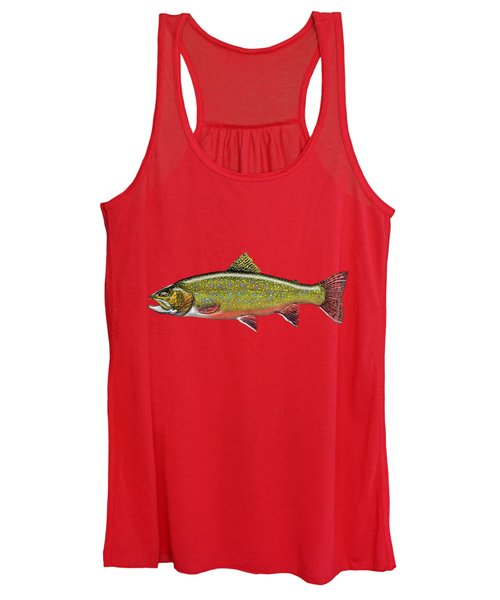 Brook Trout On Red Leather Women's Tank Top