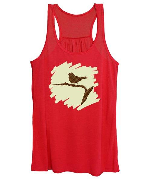 Women's Tank Top featuring the mixed media Brown Bird Silhouette Modern Bird Art by Christina Rollo