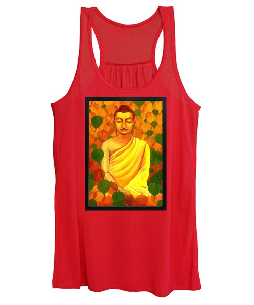 Buddha In Green Leaves Women's Tank Top