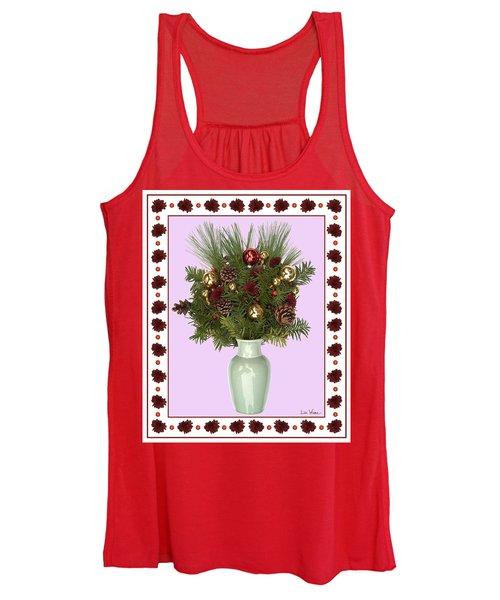 Celadon Vase With Christmas Bouquet Women's Tank Top