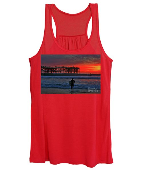 Christmas Surfer Sunset Women's Tank Top