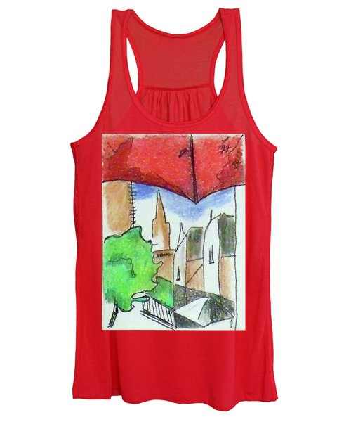Women's Tank Top featuring the drawing Cityscape 963 by Loretta Nash