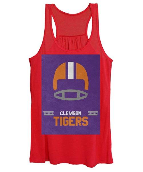Clemson Tigers Vintage Football Art Women's Tank Top