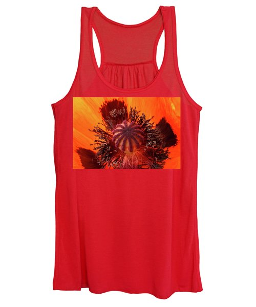 Close-up Bud Of A Red Poppy Flower Women's Tank Top