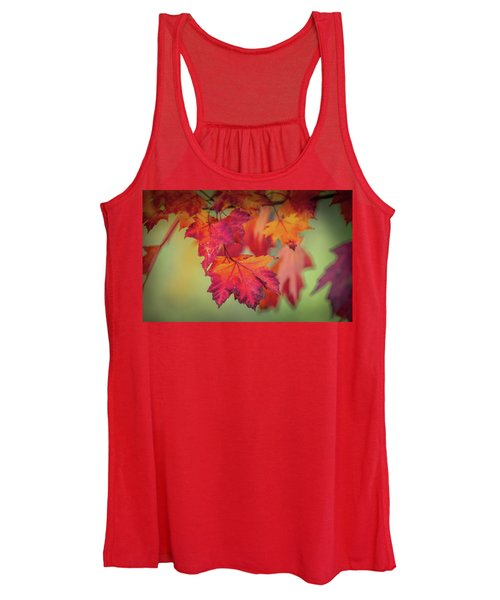 Close-up Of Red Maple Leaves In Autumn Women's Tank Top
