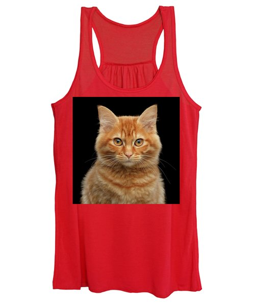 Close-up Portrait Of Ginger Kitty On Black Women's Tank Top