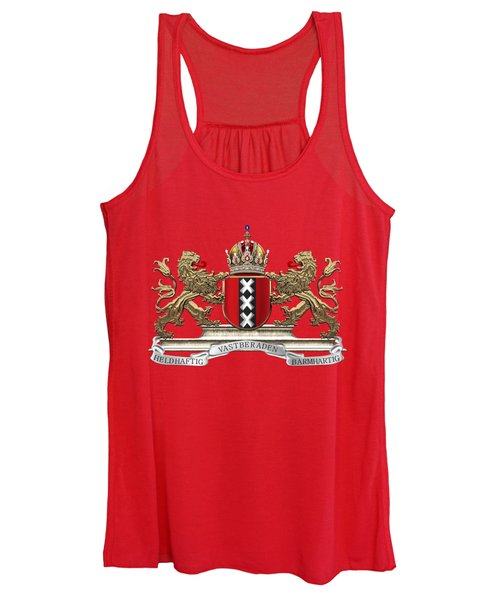Coat Of Arms Of Amsterdam Over Red Velvet Women's Tank Top