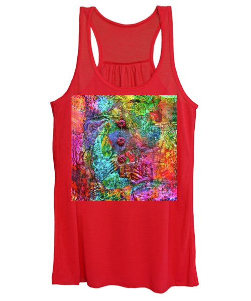 Color With Buttons Women's Tank Top