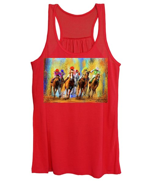 Colorful Horse Racing Impressionist Paintings Women's Tank Top