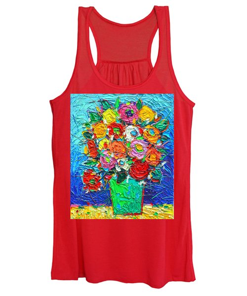 Colorful Wildflowers Abstract Modern Impressionist Palette Knife Oil Painting By Ana Maria Edulescu  Women's Tank Top