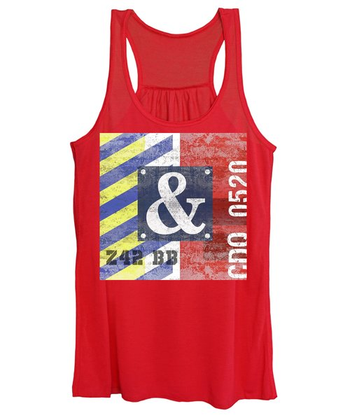 Contemporary Abstract Industrial Art - Distressed Metal - Red And Blue Stripes Women's Tank Top
