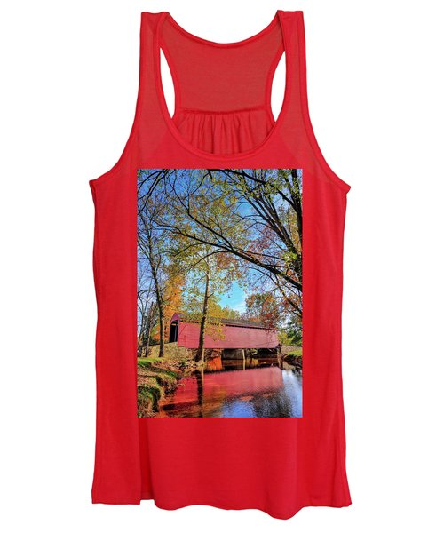 Covered Bridge In Maryland In Autumn Women's Tank Top