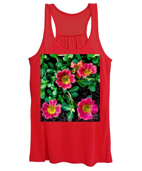 Dark Pink Purselane Flowers Women's Tank Top
