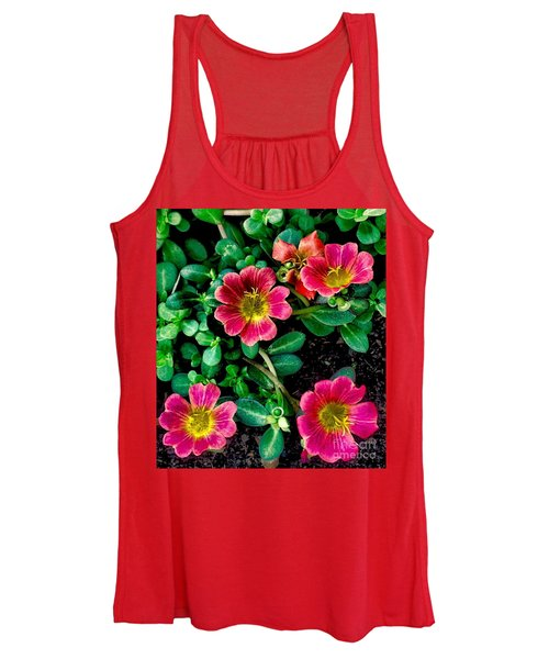 Dark Pink Purselane Flowers Women's Tank Top