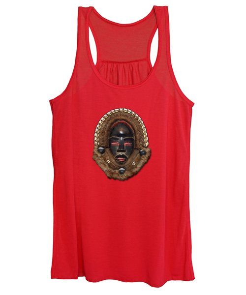 Dean Gle Mask By Dan People Of The Ivory Coast And Liberia On Red Leather Women's Tank Top