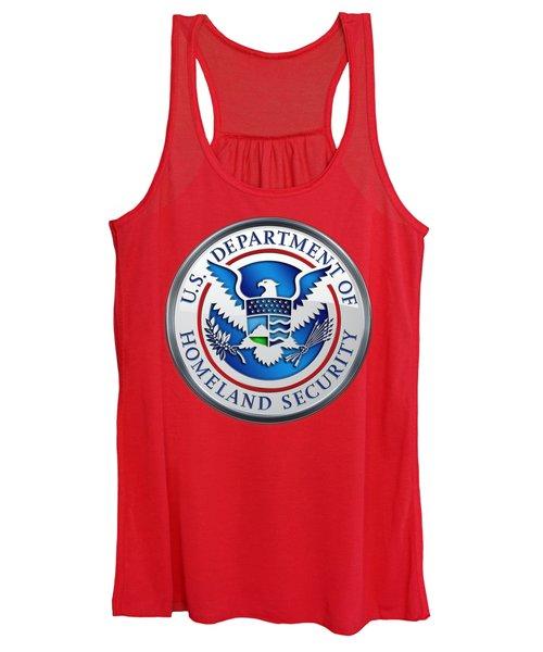Department Of Homeland Security - D H S Emblem On Red Velvet Women's Tank Top