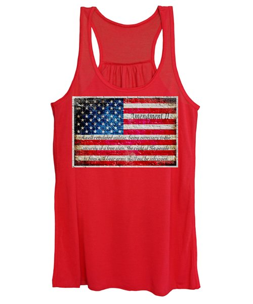 Distressed American Flag And Second Amendment On White Bricks Wall Women's Tank Top