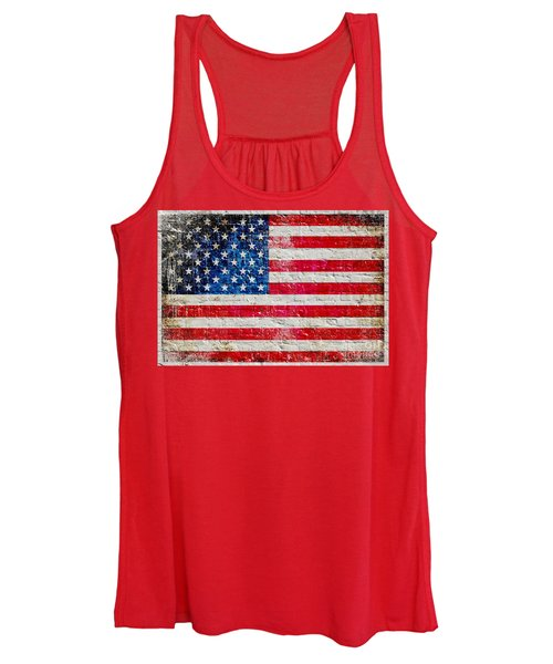 Distressed American Flag On Old Brick Wall - Horizontal Women's Tank Top