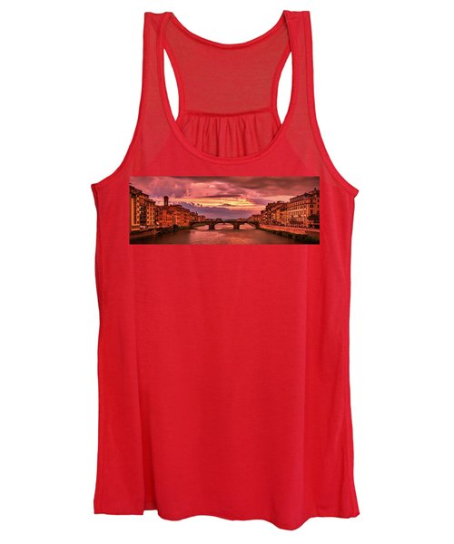Saint Trinity Bridge From Ponte Vecchio At Red Sunset In Florence, Italy Women's Tank Top