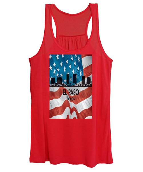 El Paso Tx American Flag Vertical Women's Tank Top