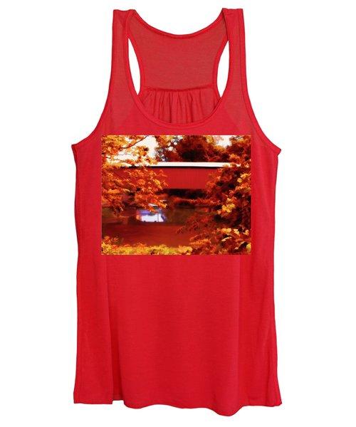 Women's Tank Top featuring the digital art Fall Covered Bridge by John Feiser