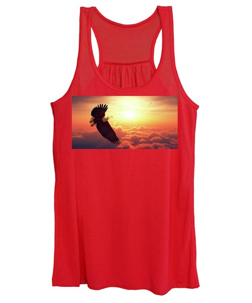 Fish Eagle Flying Above Clouds Women's Tank Top