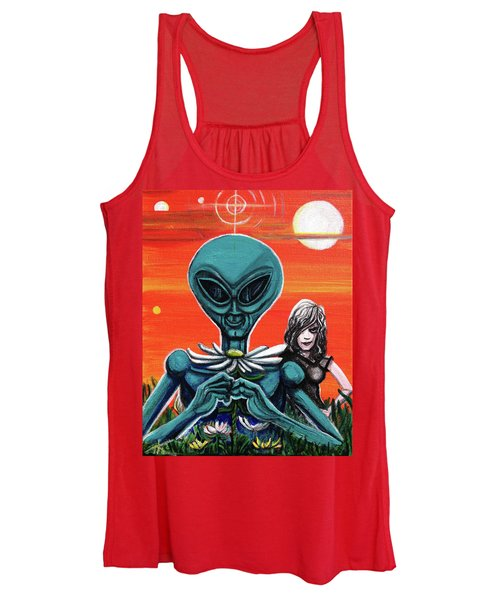 Flower. Alien. Moon Women's Tank Top