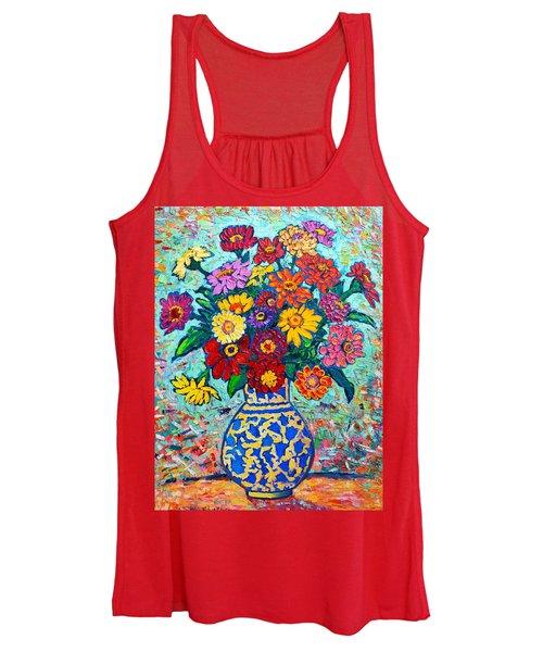 Flowers - Colorful Zinnias Bouquet Women's Tank Top