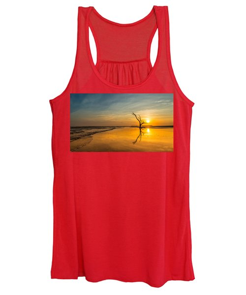 Folly Beach Skeleton Tree At Sunset - Folly Beach Sc Women's Tank Top
