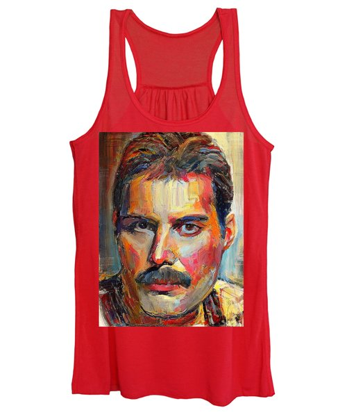 9512baf7cfcc2 Freddie Mercury Colorful Portrait Women s Tank Top