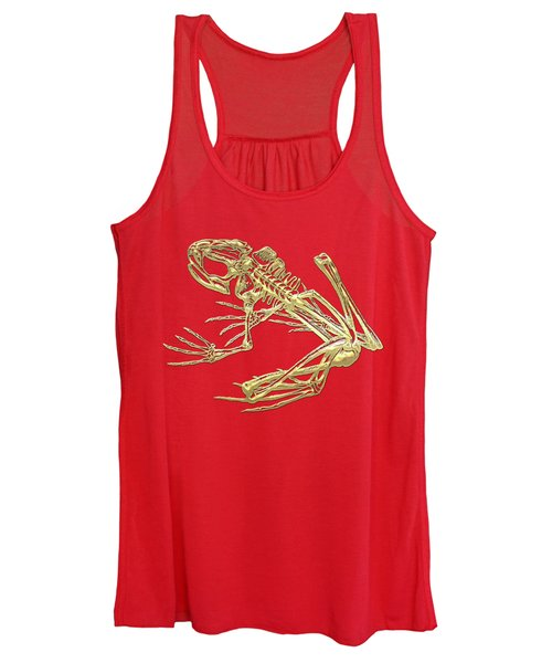 Frog Skeleton In Gold On Red  Women's Tank Top