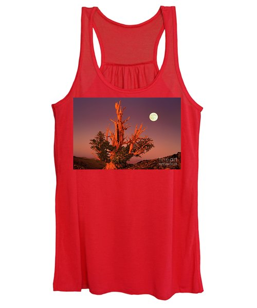 Full Moon Behind Ancient Bristlecone Pine White Mountains California Women's Tank Top