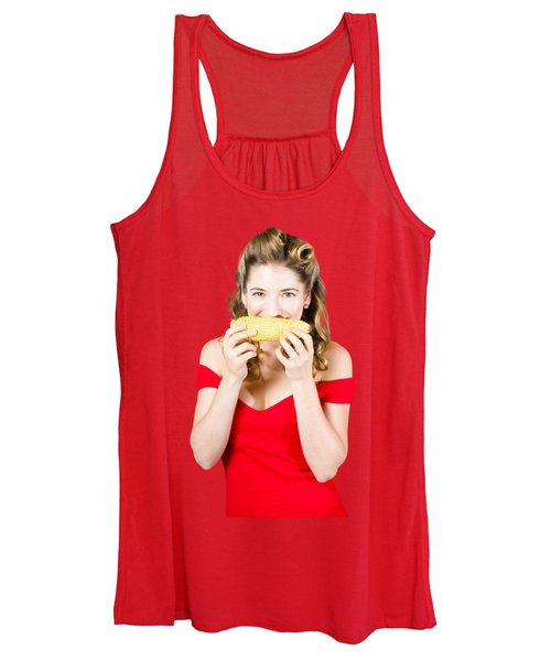 Funny Vegetable Woman With Corn Cob Smile Women's Tank Top