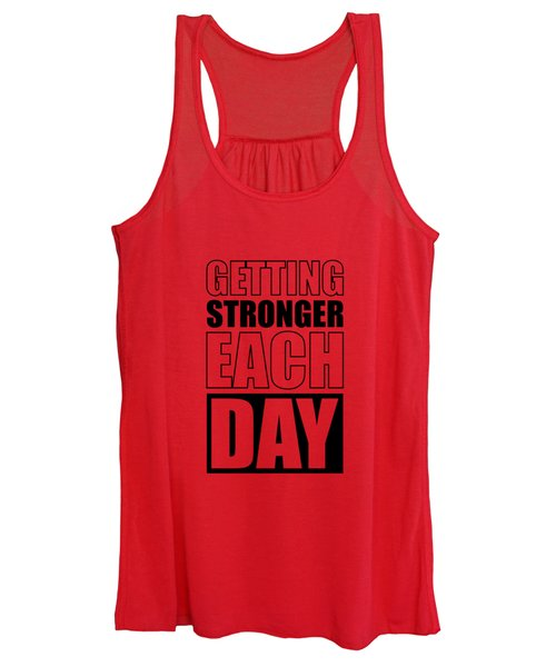 Getting Stronger Each Day Gym Motivational Quotes Poster Women's Tank Top