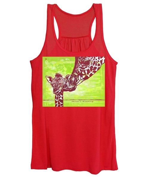 Mum's Kissing - Giraffe Stylised Pop Art Poster Women's Tank Top