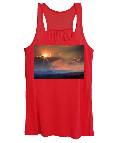 God Rays Over N C  Mountains Women's Tank Top