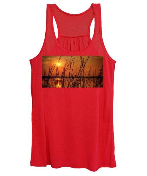 Golden Sunset At The Lake Women's Tank Top