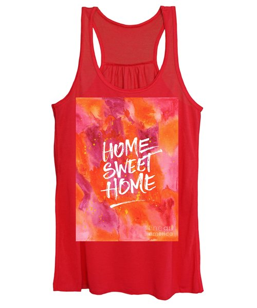 Home Sweet Home Handpainted Abstract Orange Pink Watercolor Women's Tank Top