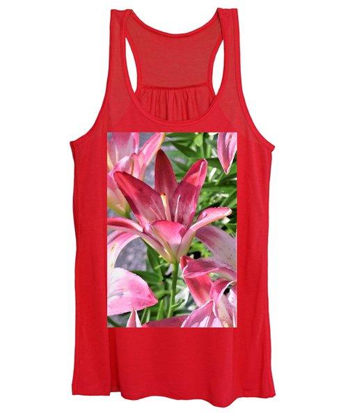 Exquisite Pink Lilies Women's Tank Top