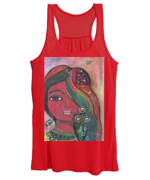 Indian Woman With Flowers  Women's Tank Top