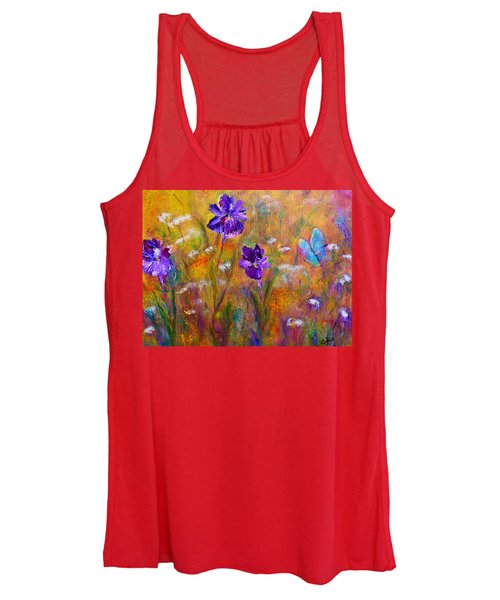 Iris Wildflowers And Butterfly Women's Tank Top