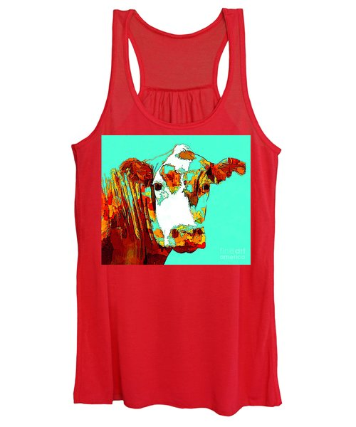 Turquoise Cow Women's Tank Top