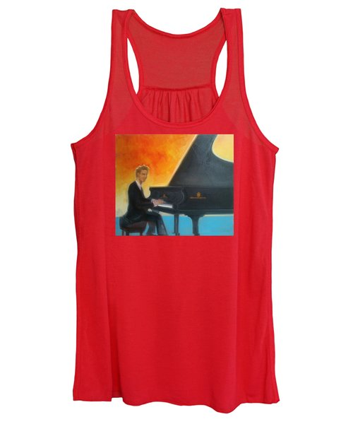 Justin Levitt At Piano Red Blue Yellow Women's Tank Top