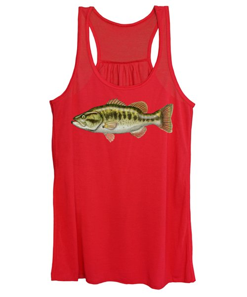 Largemouth Bass On Red Leather Women's Tank Top