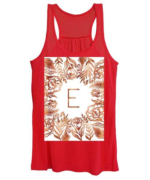 Letter E - Rose Gold Glitter Flowers Women's Tank Top