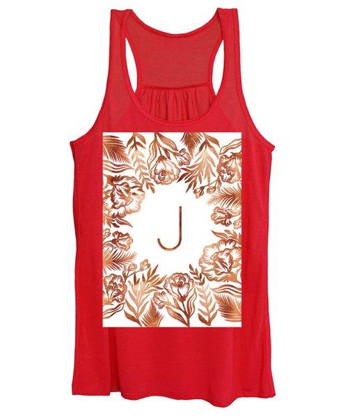 Letter J - Rose Gold Glitter Flowers Women's Tank Top