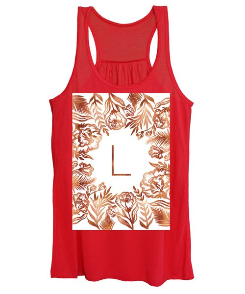 Letter L - Rose Gold Glitter Flowers Women's Tank Top