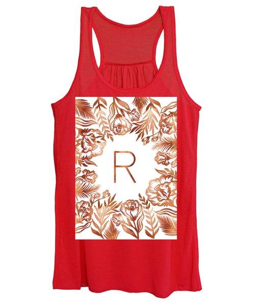 Letter R - Rose Gold Glitter Flowers Women's Tank Top
