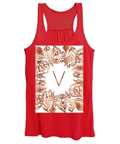 Letter V - Rose Gold Glitter Flowers Women's Tank Top