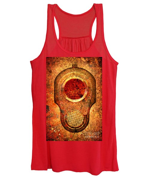 M1911 Muzzle On Rusted Background - With Red Filter Women's Tank Top